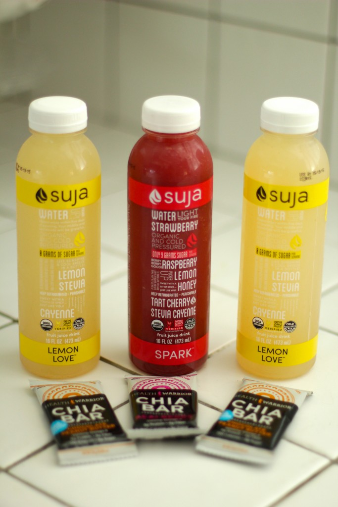 suja juices, chia bars
