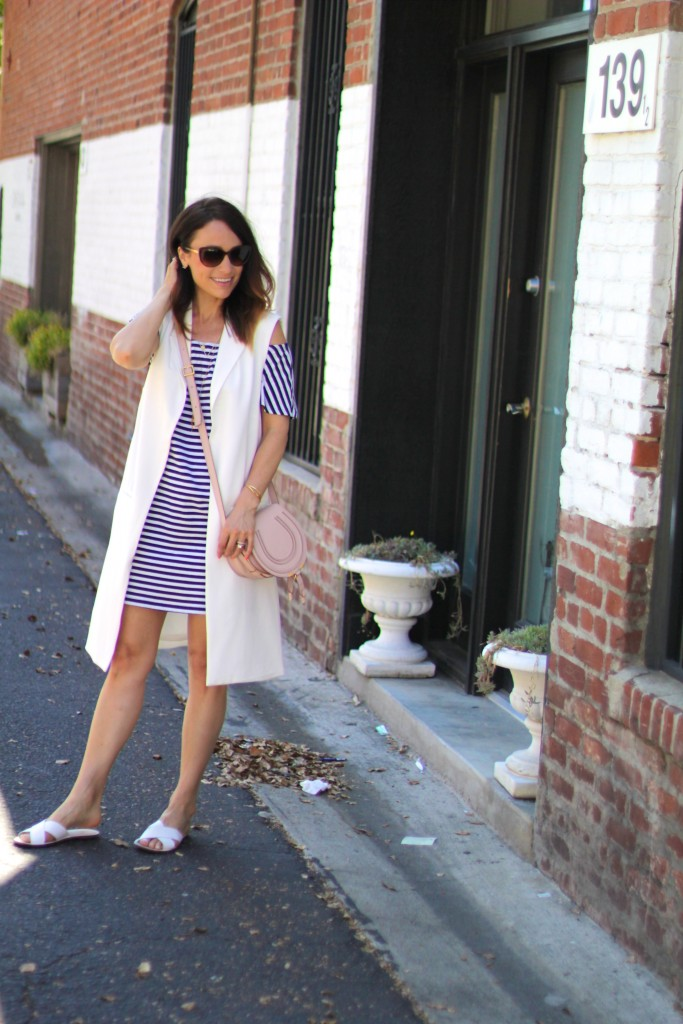 stripe dress, white vest, spring dressing, itsy bitsy indulgences