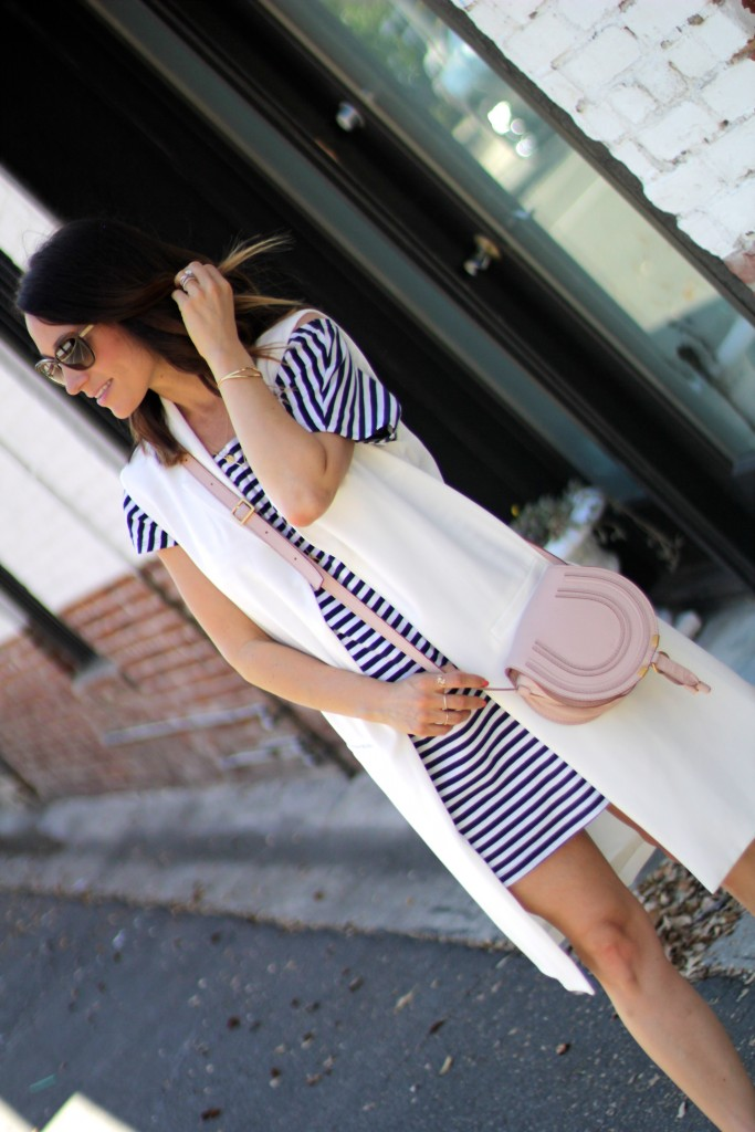 white vest, stripe dress, itsy bitsy indulgences