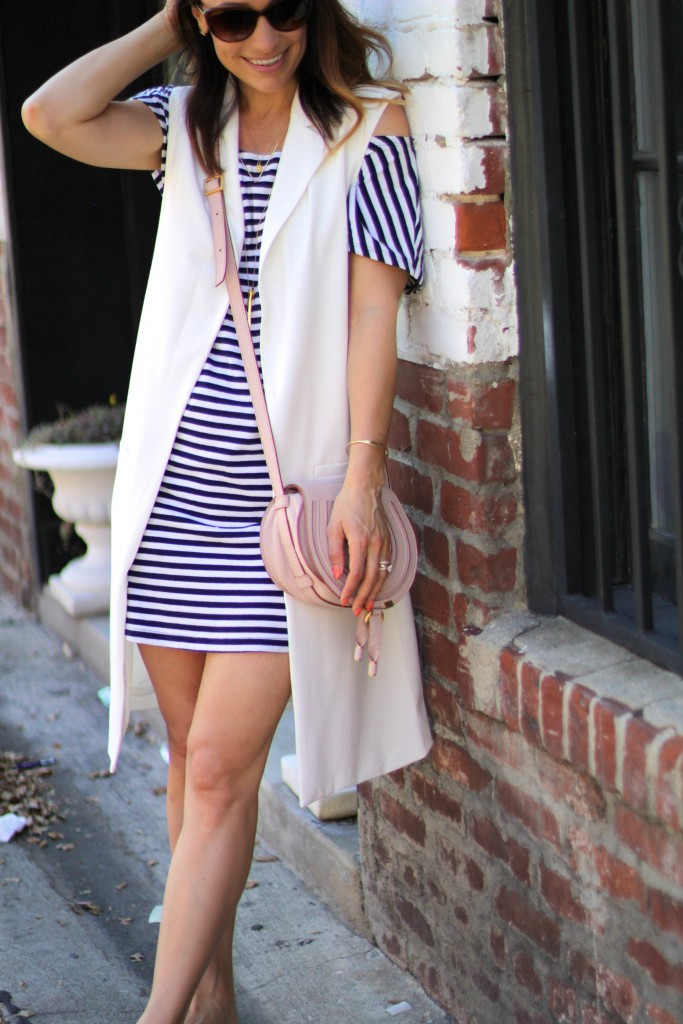 long white vest, spring stripe dress, itsy bitsy indulgences