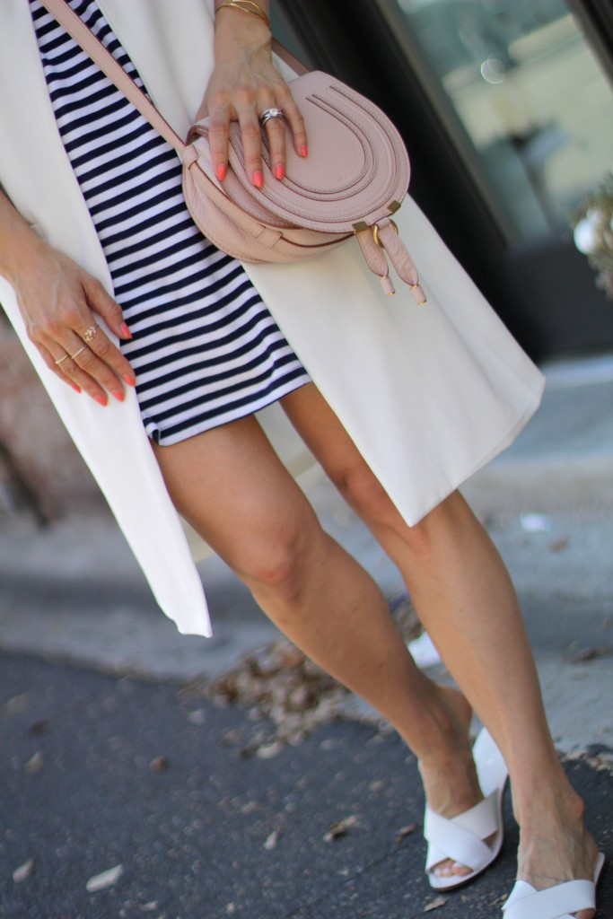 white j. crew cyprus sandals, blush chloe marcie bag