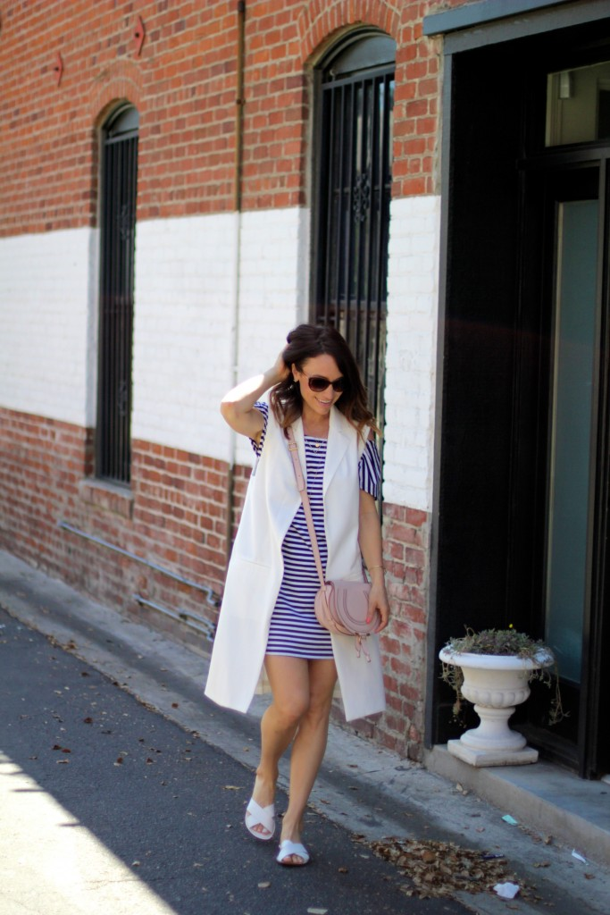 white long vest, white sandals, spring fashion, itsy bitsy indulgences