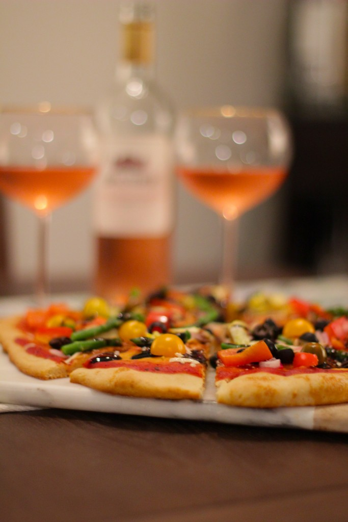 wine and pizza date night