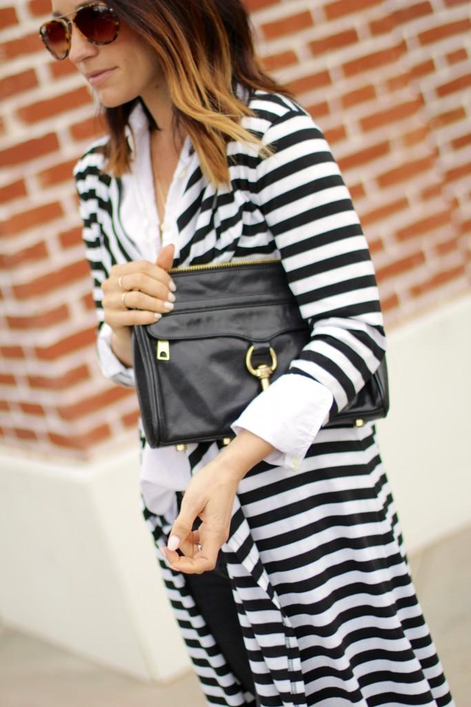 rebecca minkoff black purse, black and white sweater, ombre hair