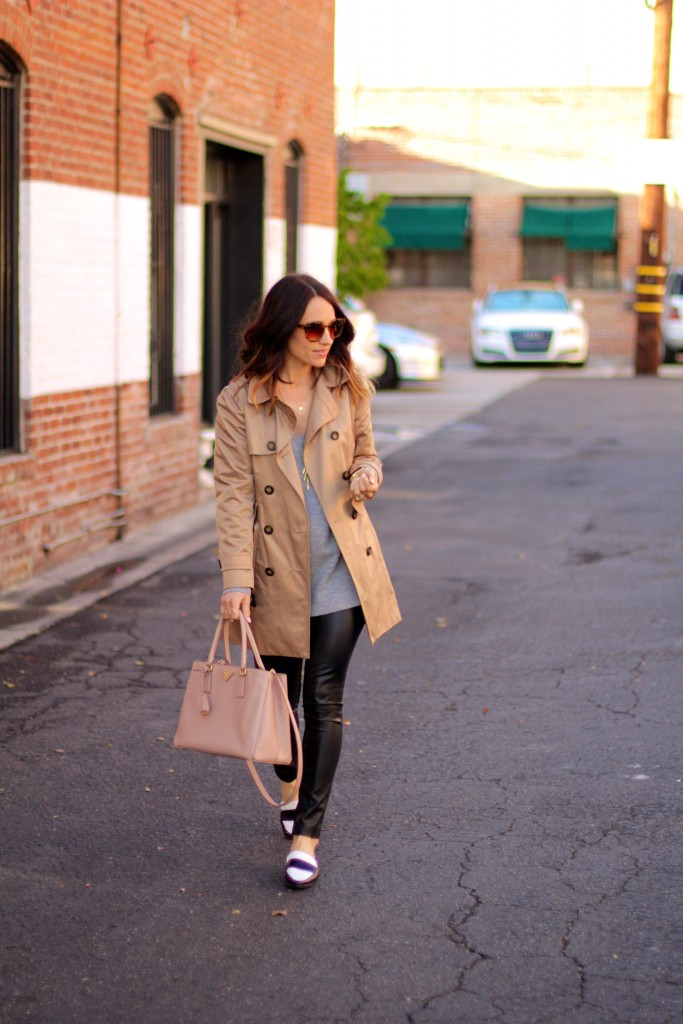 trench coat, leather pants,