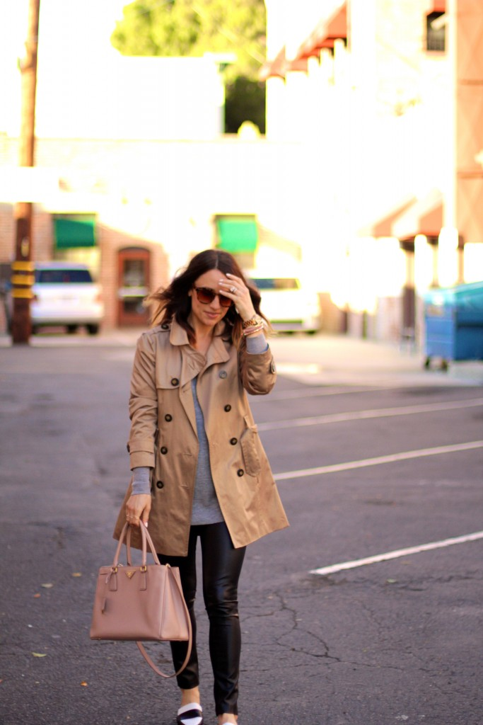 trench coat, leather pants, spring outfits