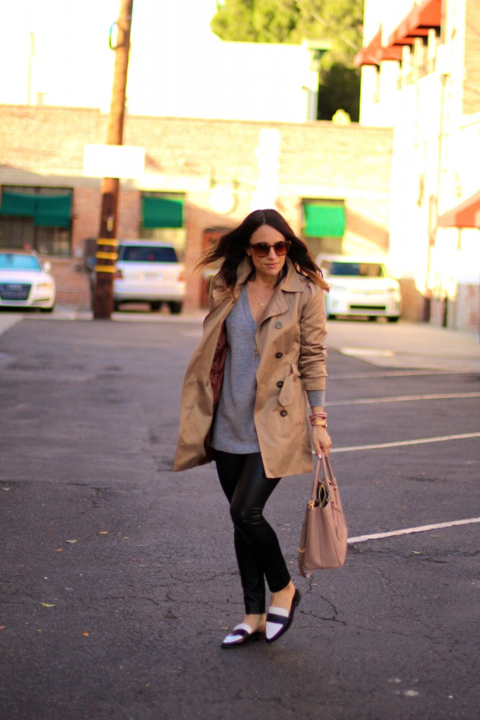 trench coat, wardrobe stable, black and white mules