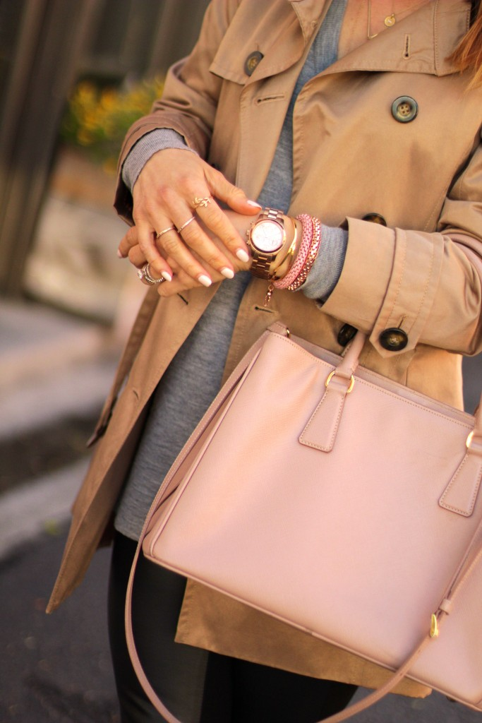 gold and blush jewelry, accessories, trench coat