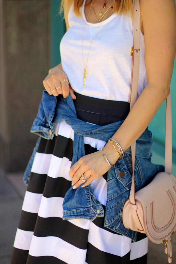 denim jacket, stripe black and white skirt, david yurman bracelets