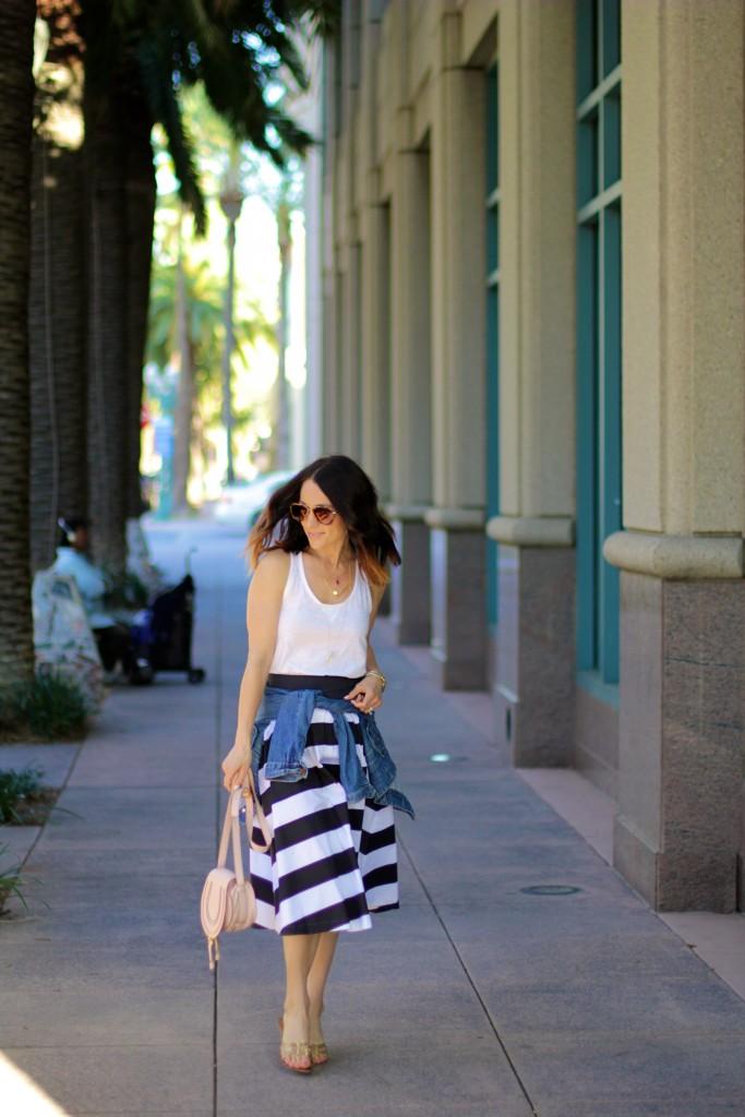 black and white stripe skirt, street style