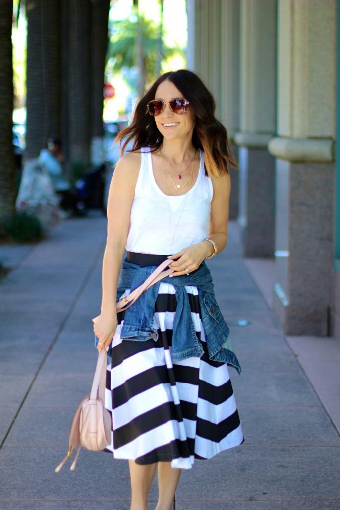 black and white stripe shabby apple full skirt, spring outfit