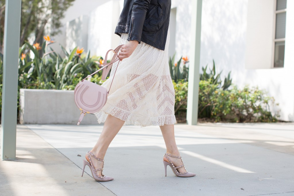 valentino rockstud heels, white dress, chloe marice bag