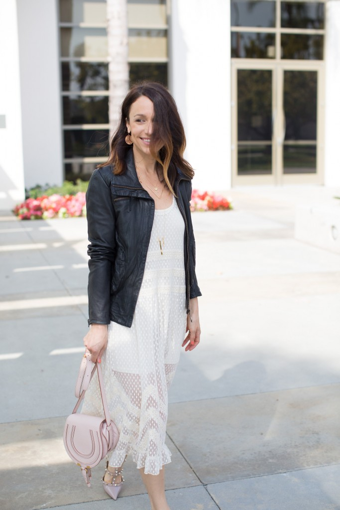 white dress, black leather jacket, spring dressing