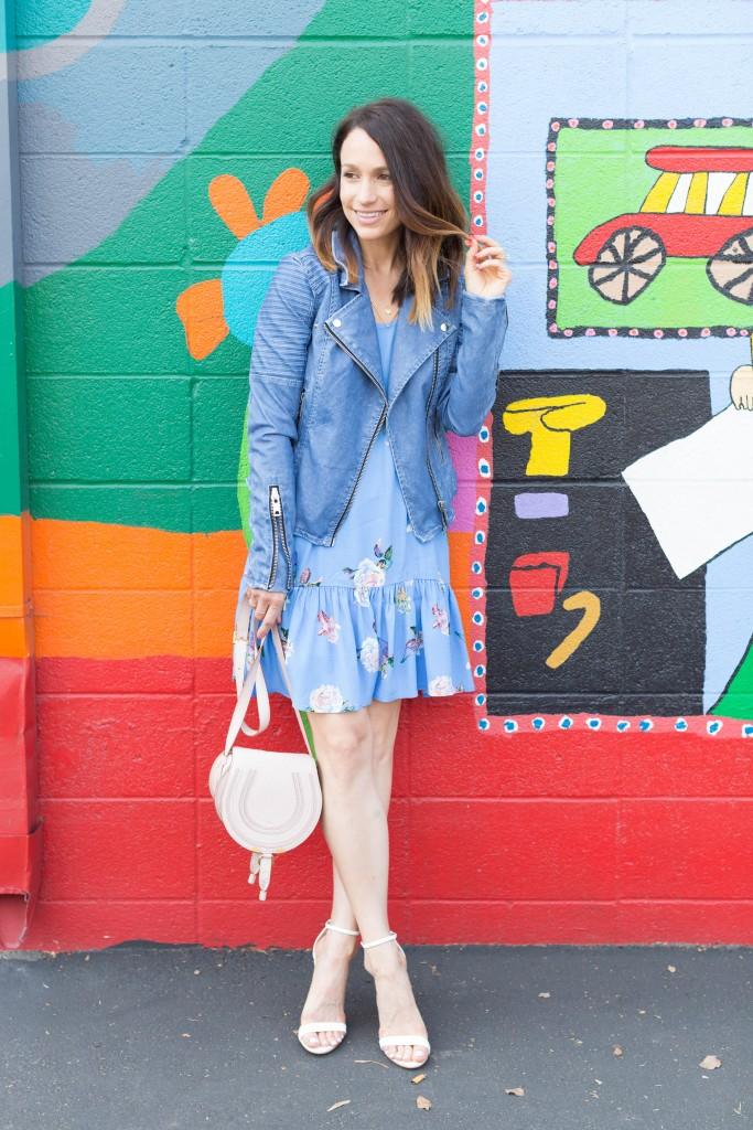 minkpink floral swing dress, spring dresses, blue leather jacket