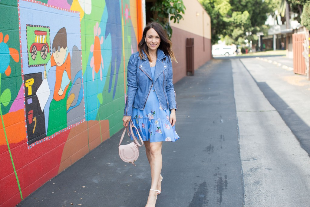 MinkPink floral dress, blue leather jacket, itsy bitsy indulgences