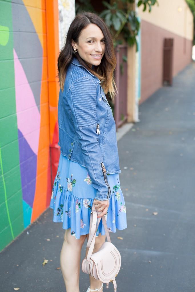 shades of blue outfit, floral dress, lulus clothing, itsy bitsy indulgences