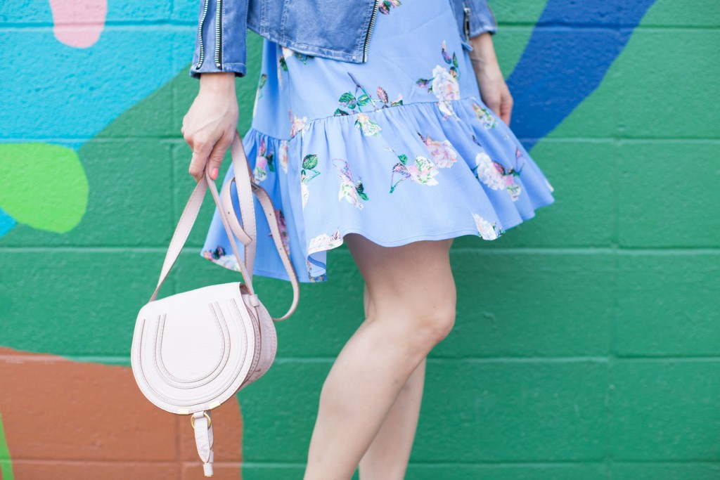 floral dress, chloe blush marcie bag