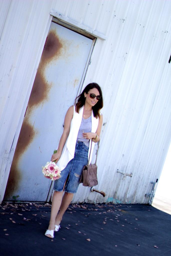 white vest, denim skirt, spring street style