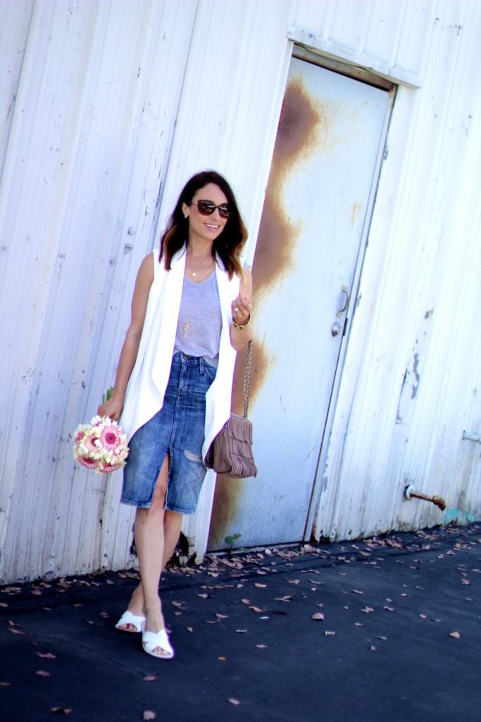 white vest, denim skirt