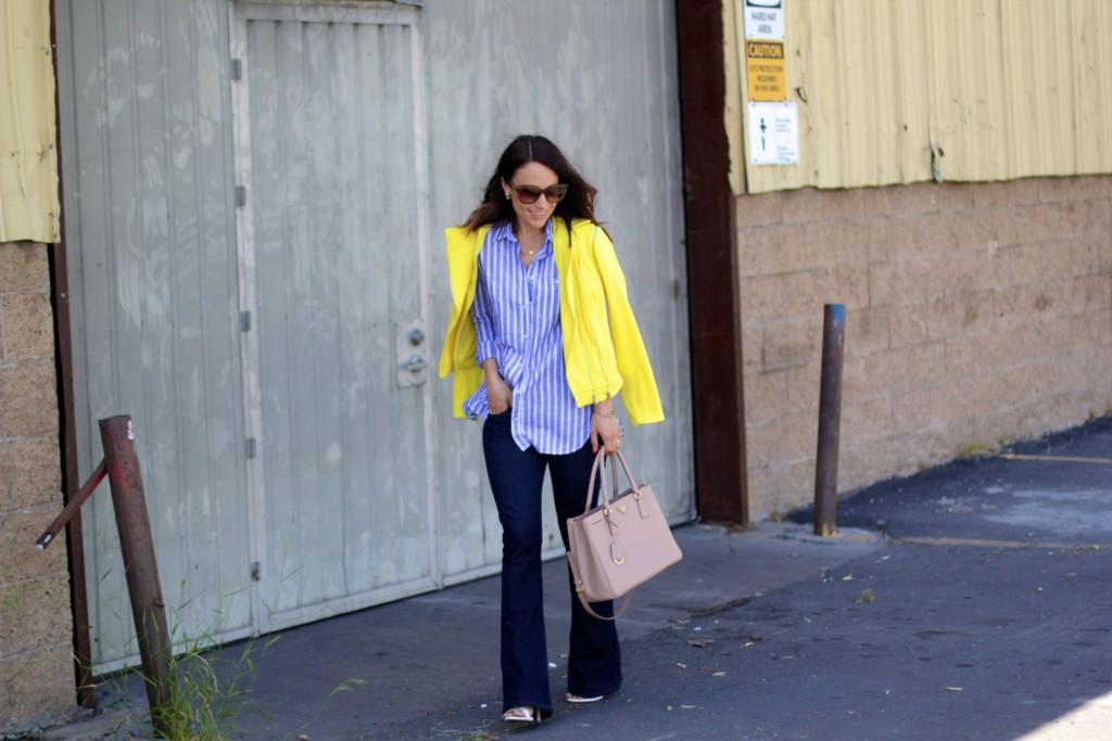 yellow jacket, flared denim, itsy bitsy indulgences