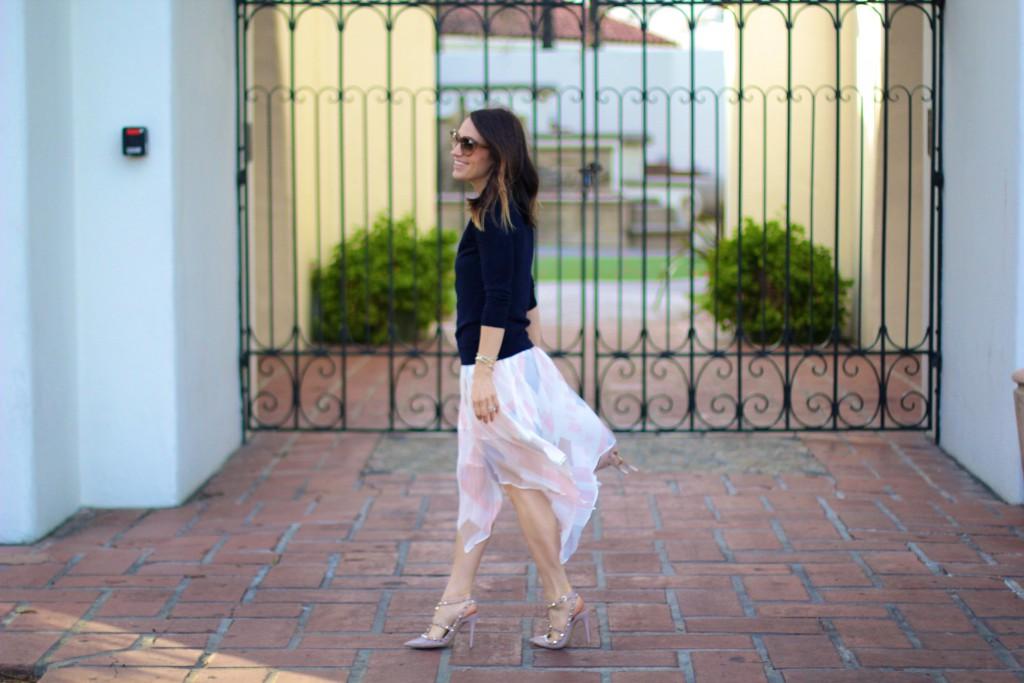 watercolor skirt, spring skirt