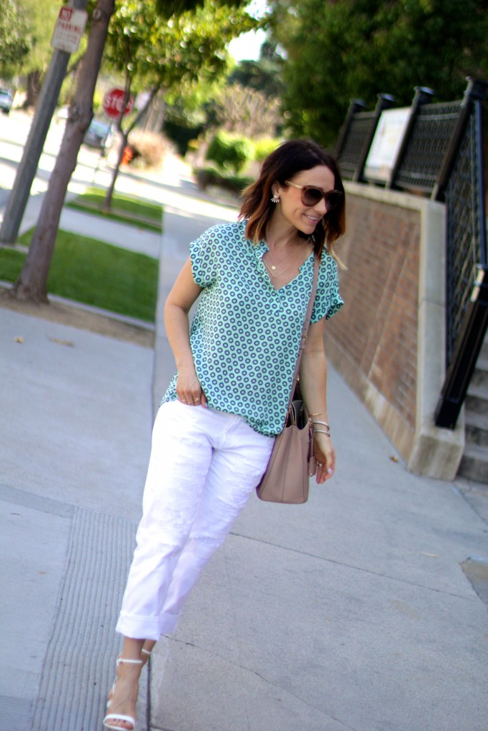 white distressed denim, pleione blouse, spring dressing