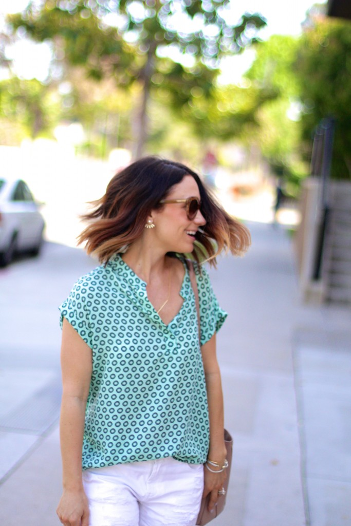 ombre lob, mint blouse, spring style