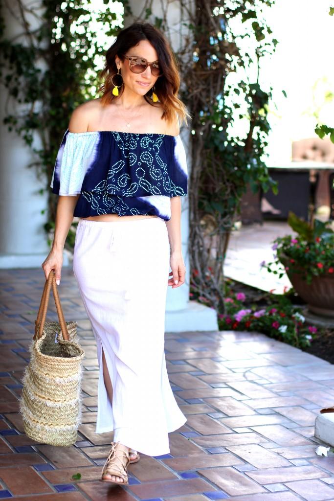 blue crop top, white skirt, itsy bitsy indulgences