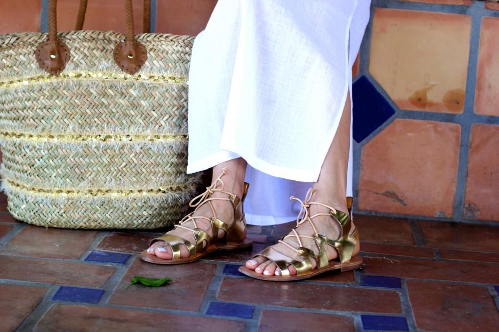 topshop gladiator sandals, beach bag, itsy bitsy indulgences