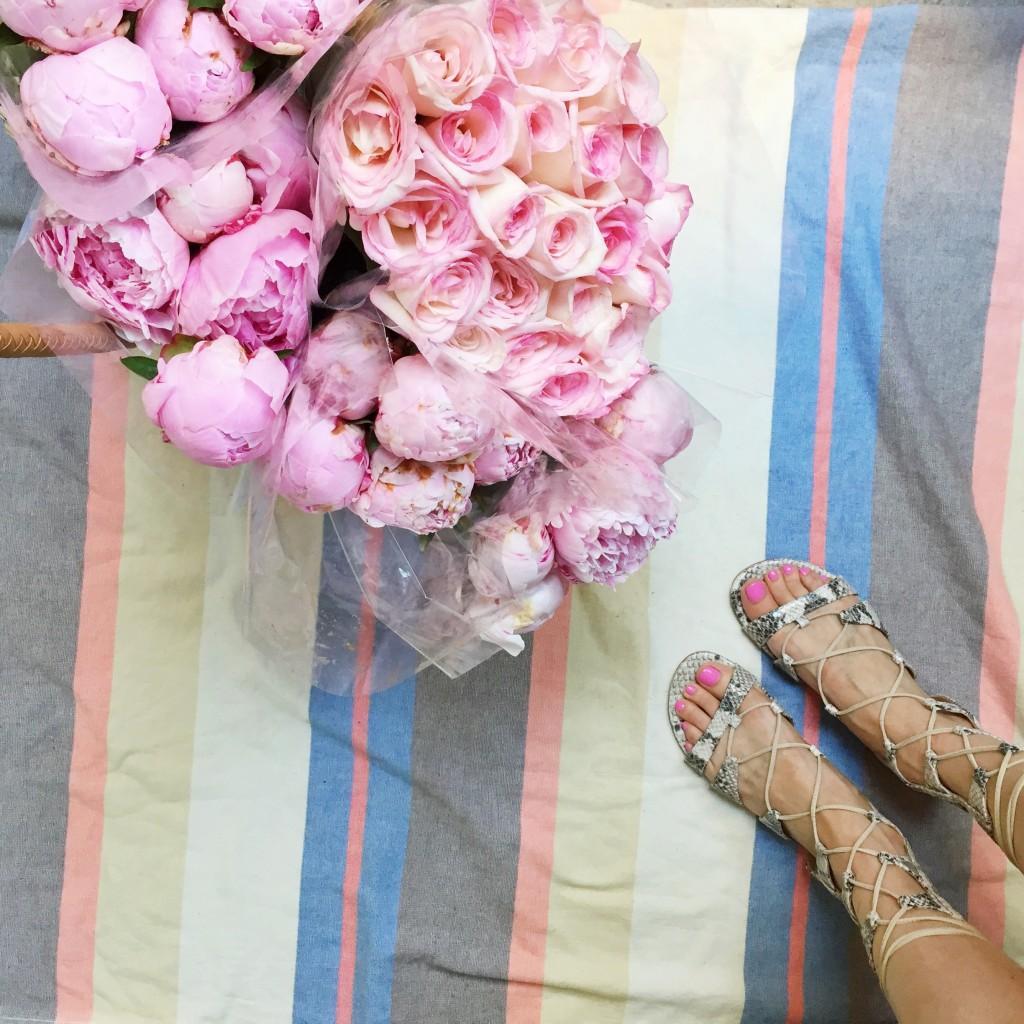 gladiator sandals, pink peonies, itsy bitsy indulgences
