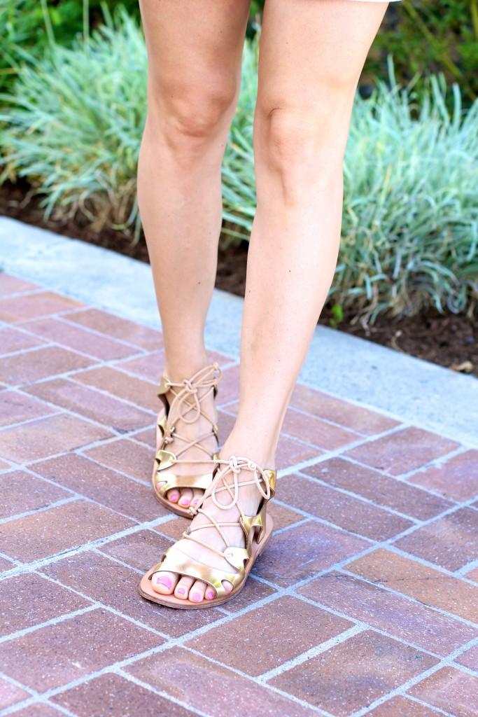 gold gladiator sandals, itsy bitsy indulgences