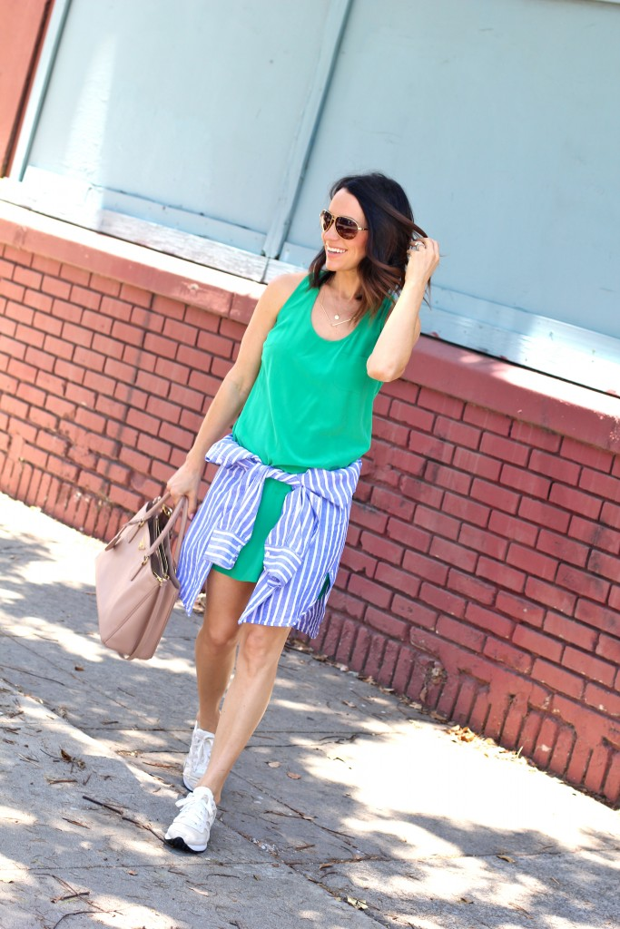 silk dress with sneakers, itsy bitsy indulgences