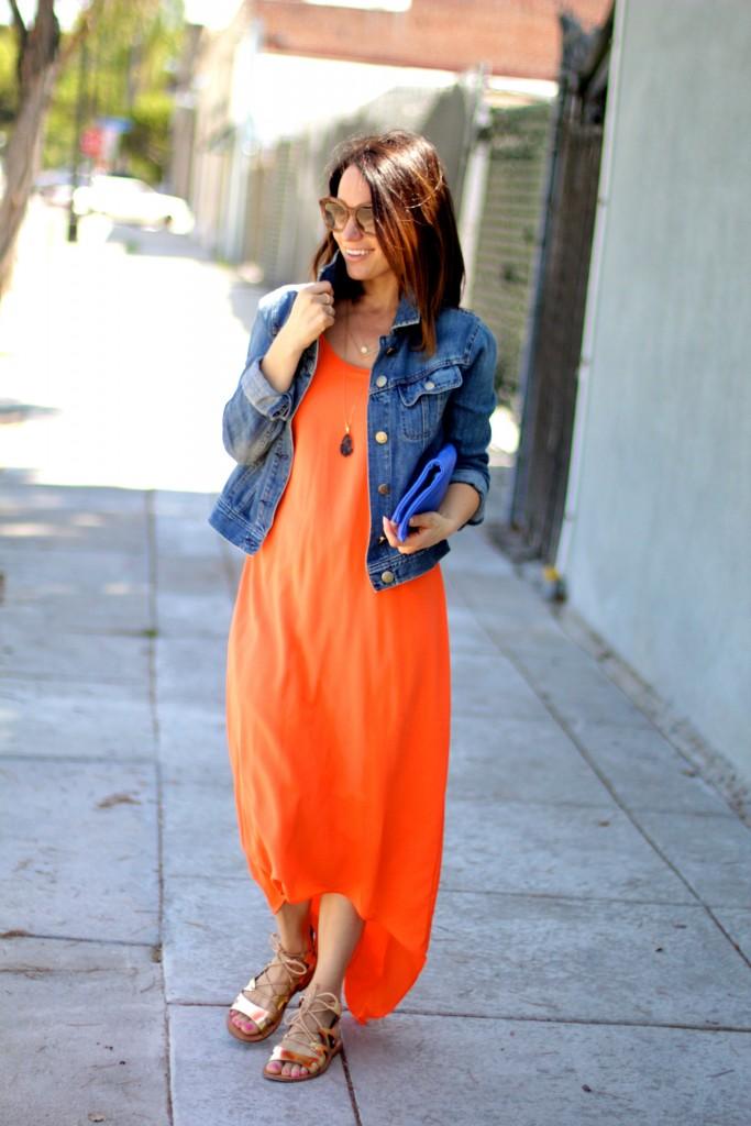 orange maxi dress, denim jacket, itsy bitsy indulgences