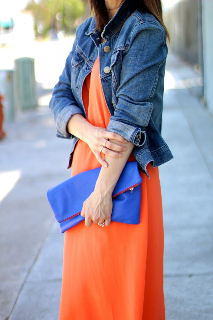 blue clare v. fold over clutch