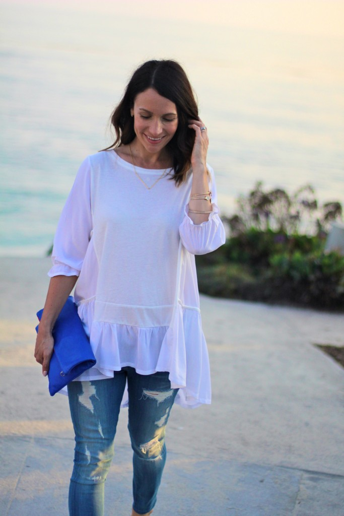 flowy white top, itsy bitsy indulgences