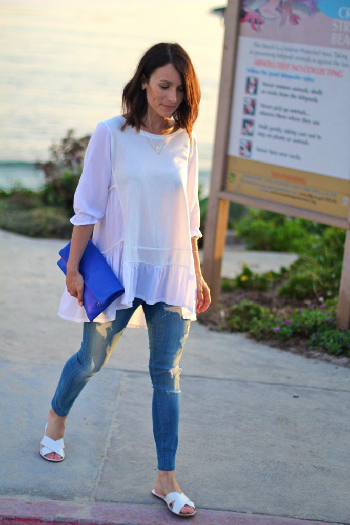 white top distressed denim, itsy bitsy indulgences