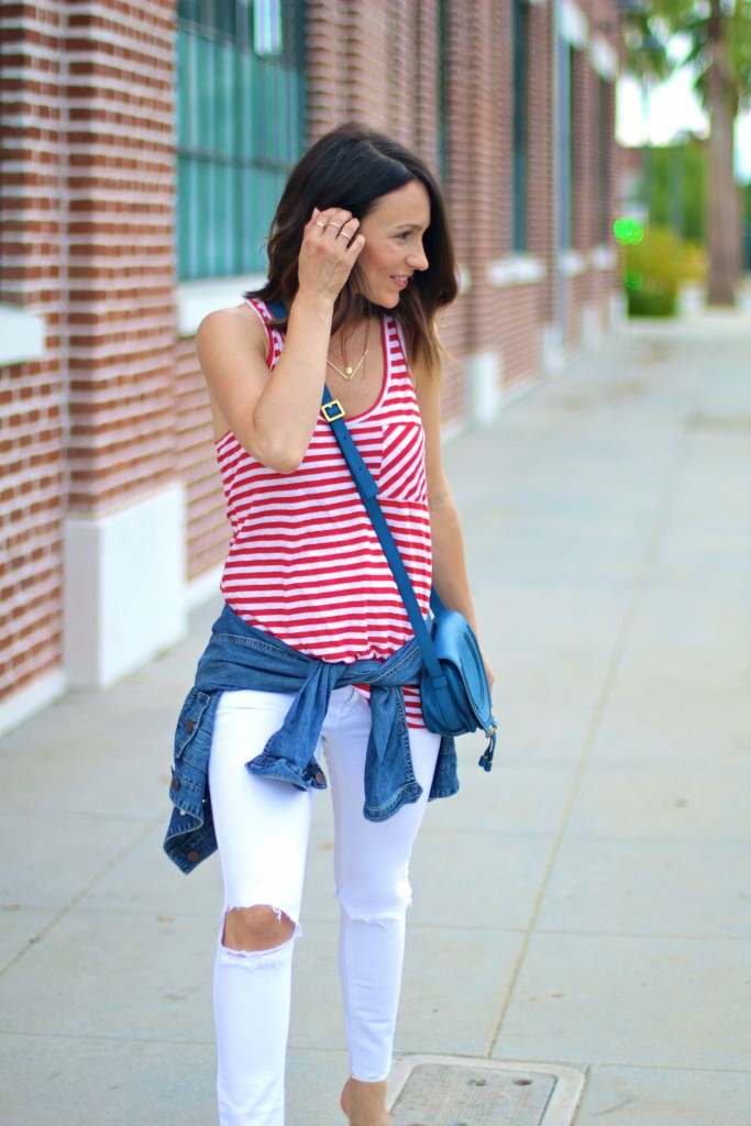 red and white stripe tank, itsy bitsy indulgences