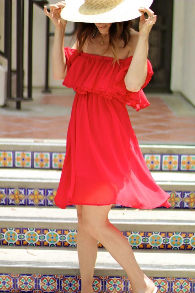 red off the shoulder dress, itsy bitsy indulgences