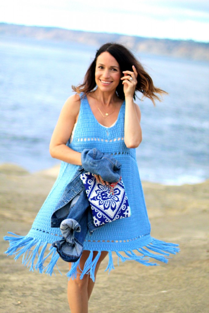 blue crochet and fringe dress, itsy bitsy indulgences
