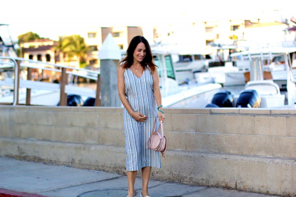 stripped midi dress, itsy bitsy indulgences