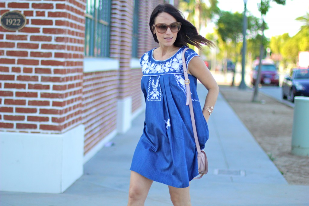 embroidered chambray dress, itsy bitsy indulgences