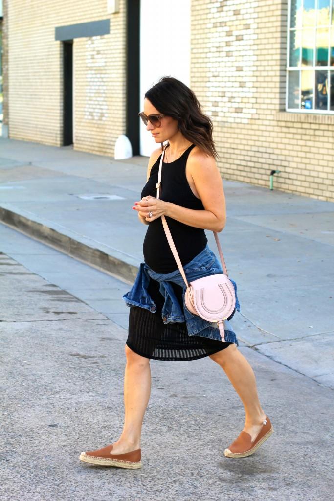 black midi dress, pregnancy street style, itsy bitsy indulgences