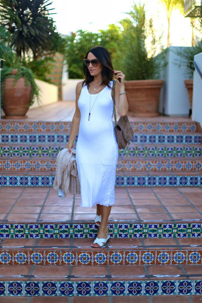 summer white midi dress, pregnancy style, itsy bitsy indulgences