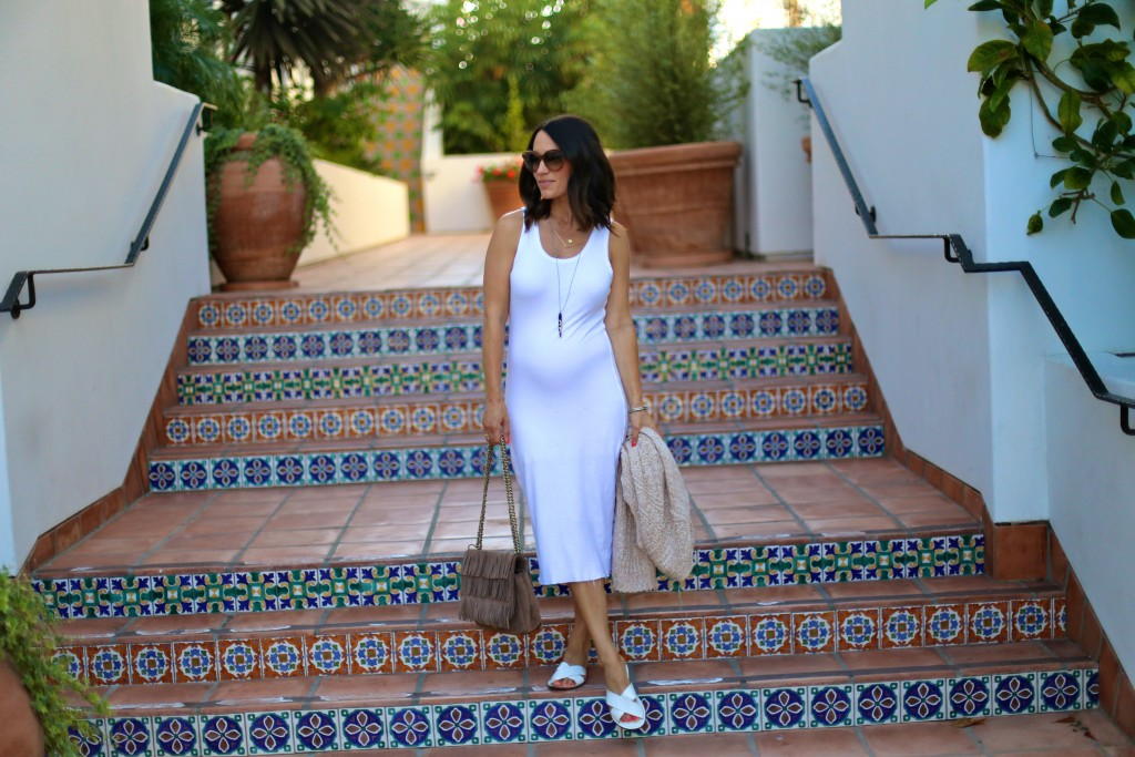 white midi dress, pregnancy style, itsy bitsy indulgences