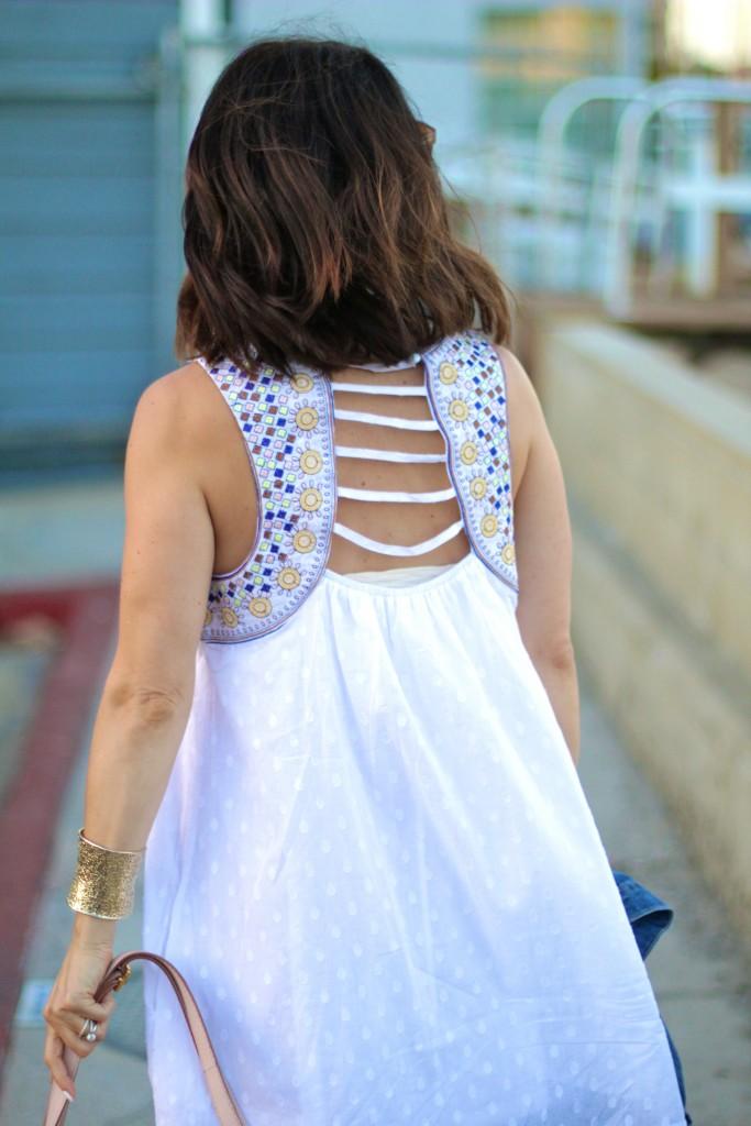 cross back white dress, itsy bitsy indulgences