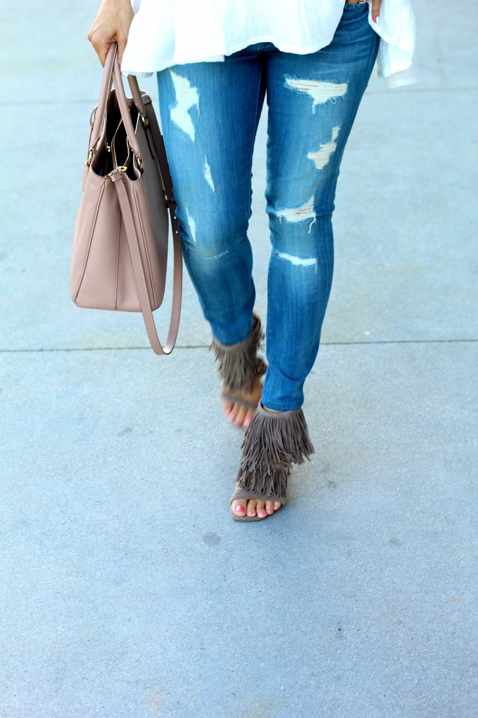 distressed denim and fringe heels, itsy bitsy indulgences