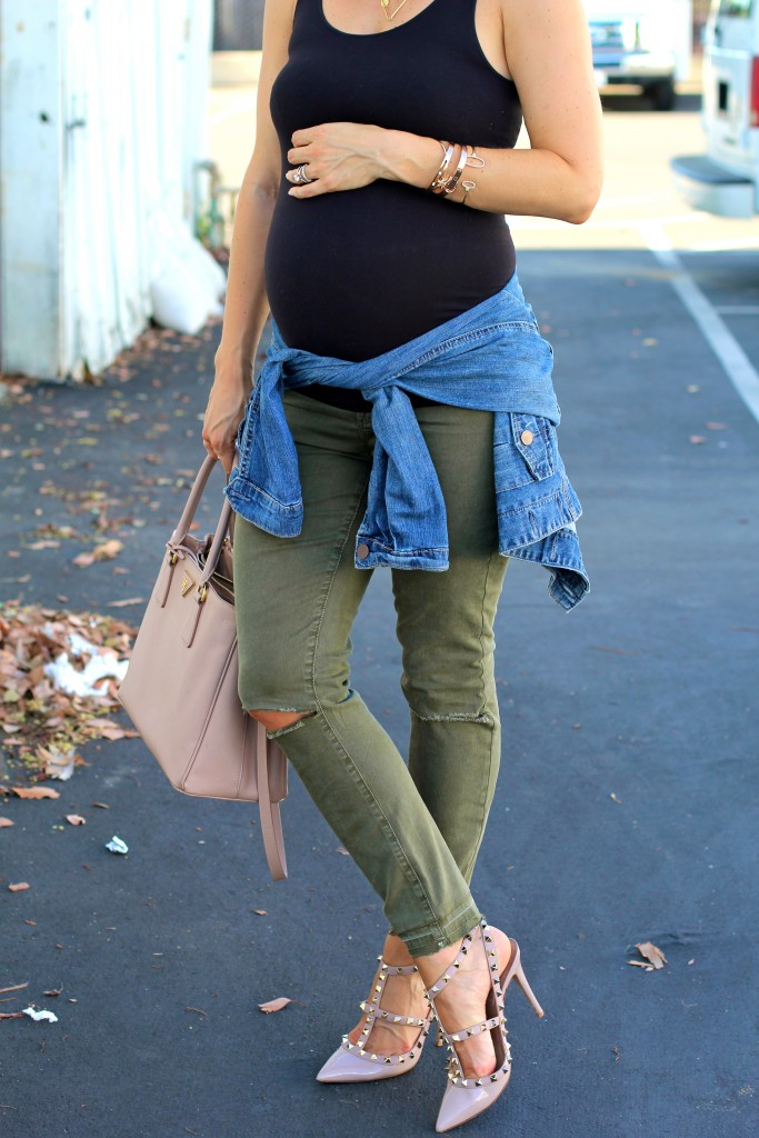 valentino rockstud pumps, distressed cargo jeans, pregnancy style, itsy bitsy indulgences