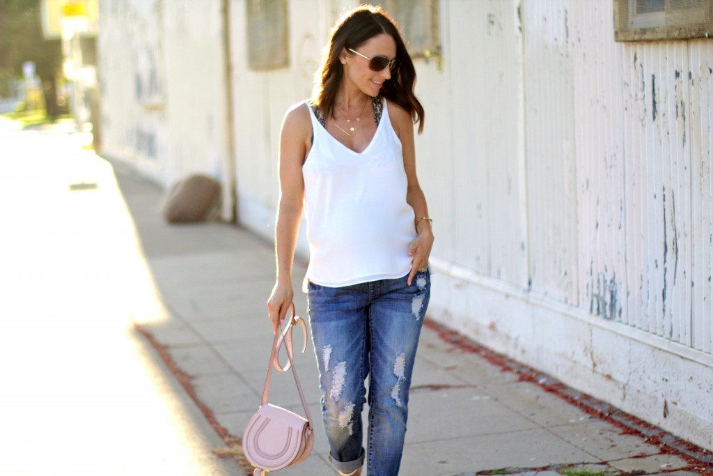 casual jeans and a white top, itsy bitsy indulgences