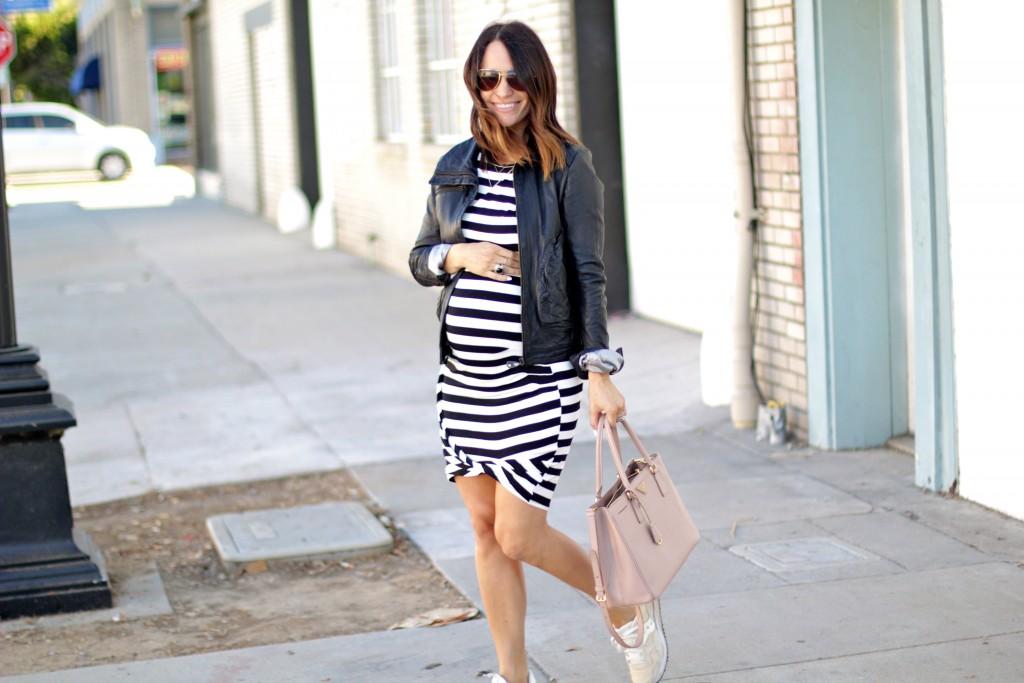 pregnancy style, stripe dress leather jacket, itsy bitsy indulgences
