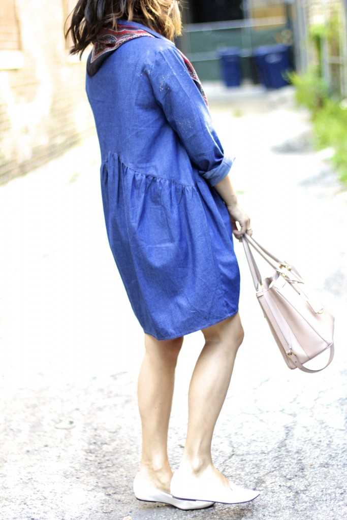 white loafers, chambray dress, itsy bitsy indulgences